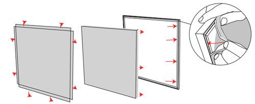 Pose du visuel tissu