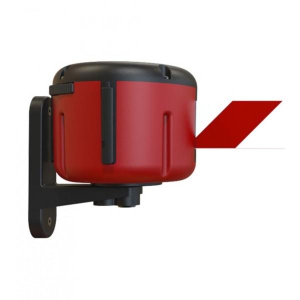 Wandcassette met riem 10m rood - rood/wit lint