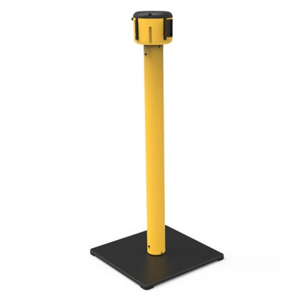 Afzetpaal geel met vierkante basis