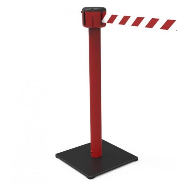 Poteau de guidage rouge, sangle 10m rouge/blanc
