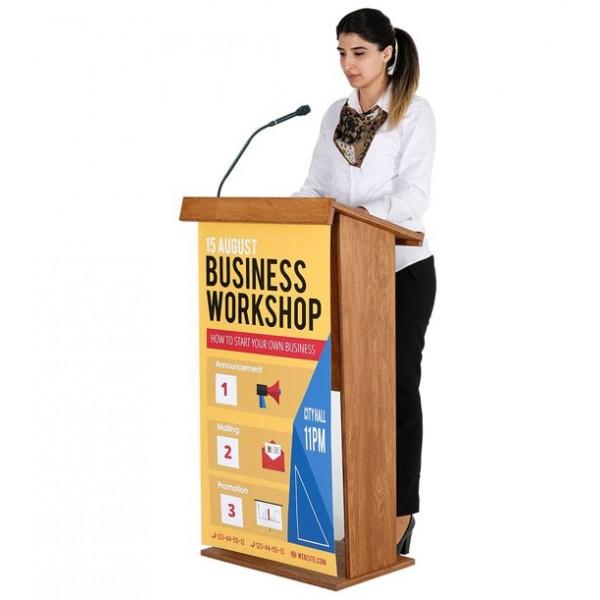 Houten spreekgestoelte, aanpasbaar met uw logo of reclame boodschap
