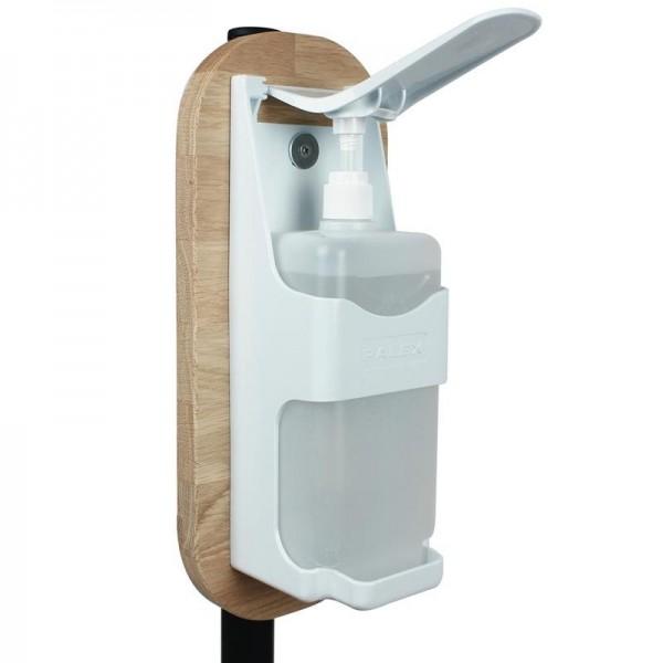 Stand en acier et bois pour gel hydroalcoolique
