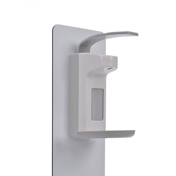 Stand de désinfection Covid19 extérieur - Gros plan sur le distributeur de gel ou liquide hydroalcoolique