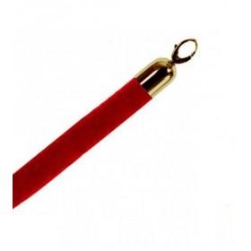 Corde velours rouge 150cm, fermoirs dorés