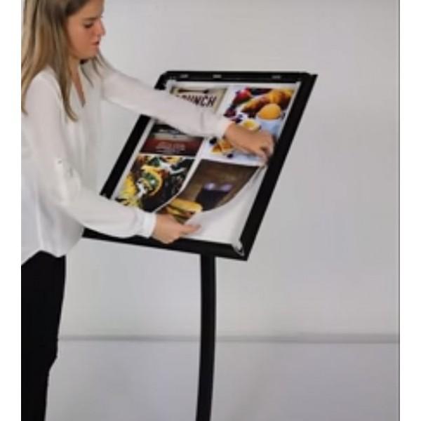 Affichez jusqu'à 4 feuilles A4: idéal pour cafés et restaurants!