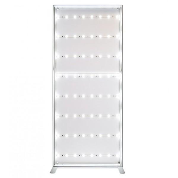 Totem lumineux - aluminium et tissu tendu: éclairage homogène LED