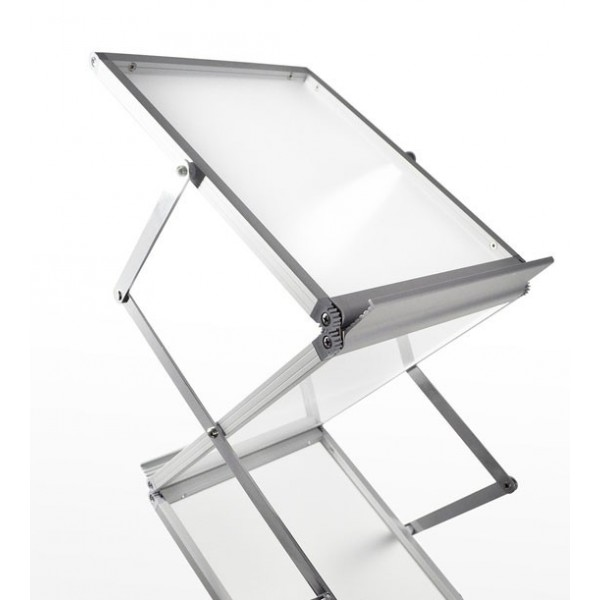 Folderstandaard uit aluminium en plexiglas