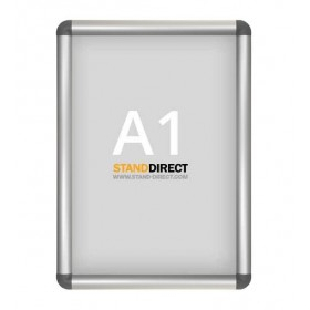 Cadre à clapets aluminium, coins arrondis gris - A1 (59,4 x 84cm)