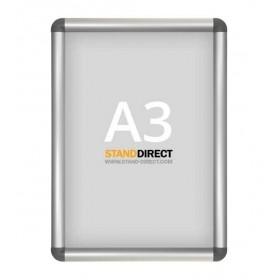 Cadre à clapets aluminium, coins arrondis gris - A3 (29,7 x 42cm)
