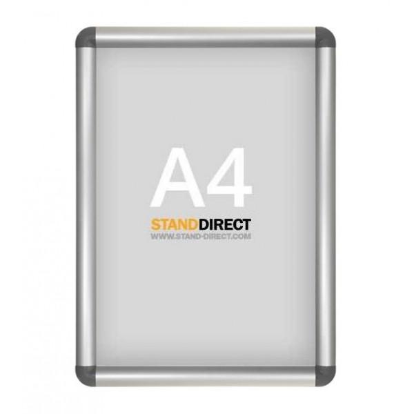 A4 Aluminium Klapprahmen, graue abgerundete Ecken