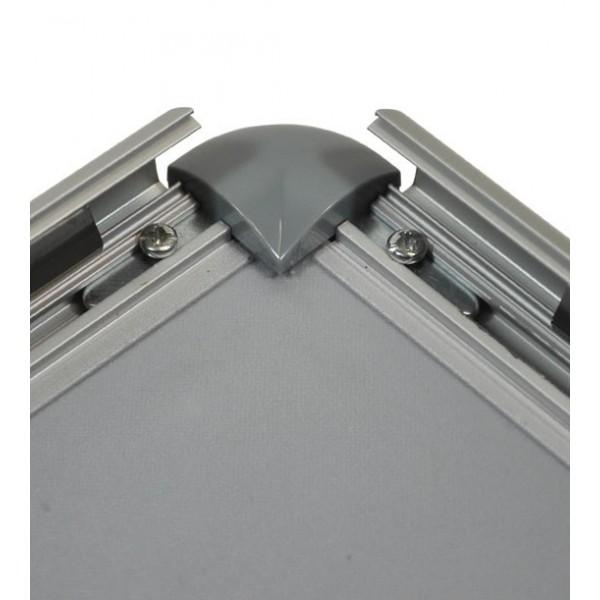 Cadre à clapets aluminium, coins arrondis gris