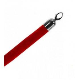 Corde velours rouge, fermoirs chromés