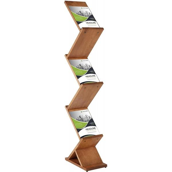 Porte-brochures zig-zag, finition bois de hêtre massif, 6 compartiments A4.