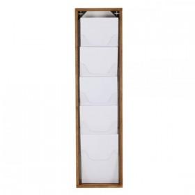 Porte-catalogues mural bois, 5 compartiments plexiglas