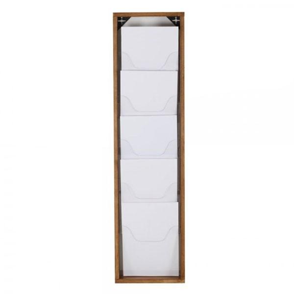 Wand brochurehouder in hout en plexiglas