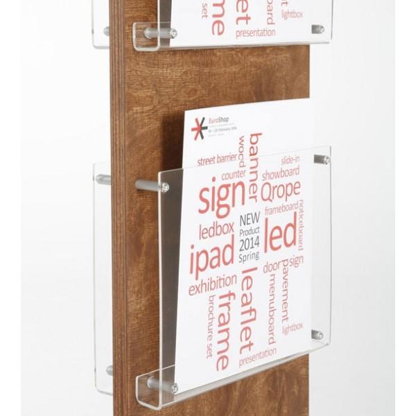 Porte-brochure bois recto-verso, présentoir plexiglas