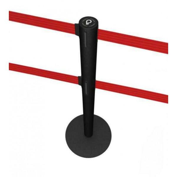 Poteau de guidage noir à double sangle rouge
