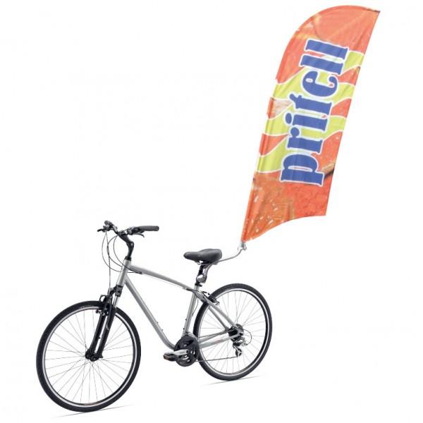 Oriflamme publicitaire pour vélo