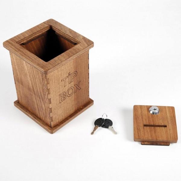 Spenden- und Tip Box aus Massivholz