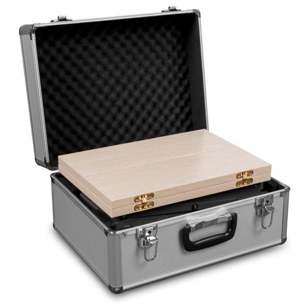 Theke / Prospekthalter mit Koffer