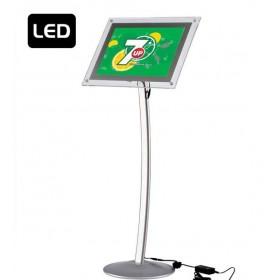 Gewölbter LED Infoständer Aluminium - A3 - Eloxiertes Aluminium