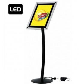 Gewölbter LED Infoständer schwarz - A3 - Schwarz