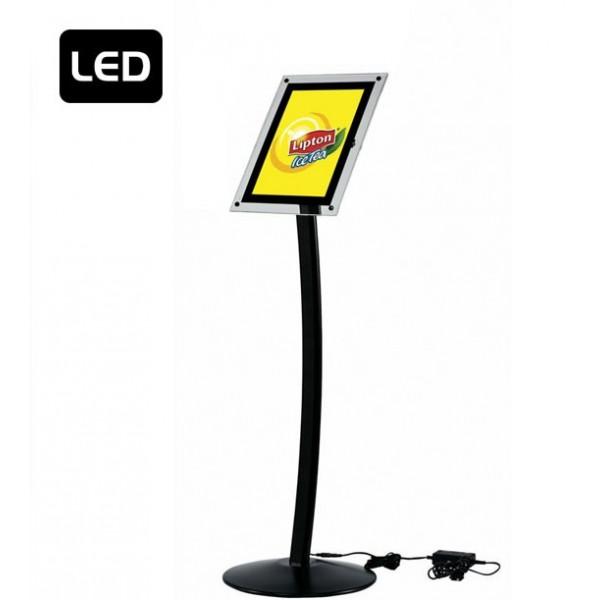Gewölbter LED Infoständer schwarz