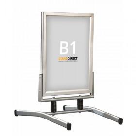 Kundenstopper auf Stahlfedern - B1 (70,7 x 100cm) - Eloxiertes Aluminium