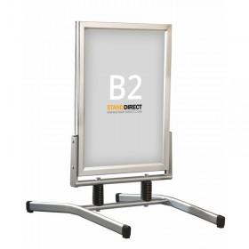 Kundenstopper auf Stahlfedern - B2 (50 x 70,7cm) - Eloxiertes Aluminium