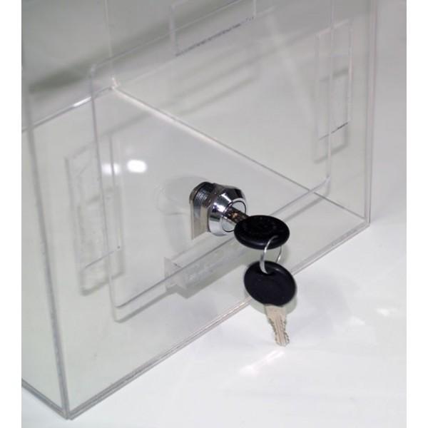 Urne jeu concours en plexi transparent, sécurisée à clé