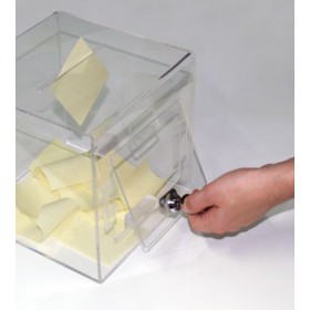 Urne jeu concours en plexi transparent, permettant de voir le contenu