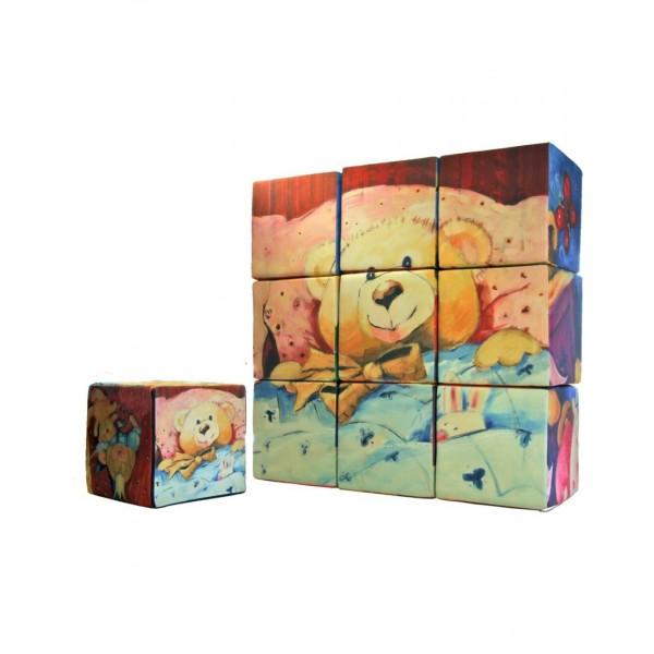Pouf puzzle imprimé pour enfants