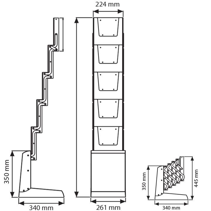 Dimensions du porte-brochures